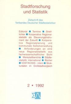 Stadtforschung und Statistik - Ausgabe 2/1992