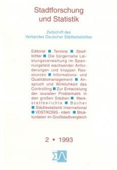Stadtforschung und Statistik - Ausgabe 2/1993