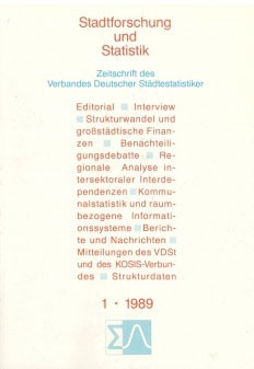 Stadtforschung und Statistik - Ausgabe 1/1989