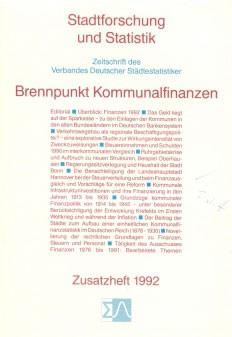 Stadtforschung und Statistik - Zusatzheft 1992